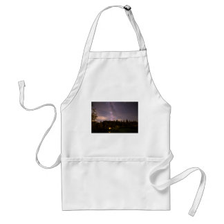 Camping Under Nighttime Milkway Stars Adult Apron