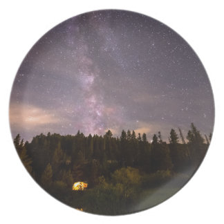 Camping Under Nighttime Milkway Stars Dinner Plate