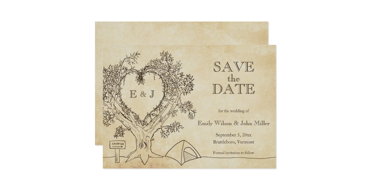 Camping Wedding Invitations: Camping Wedding Save The Date Announcements