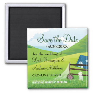 Camping Wedding Save the Date 2 Inch Square Magnet