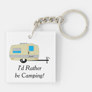 Camping with Name Keychain