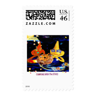 Camping with the stars postage stamp