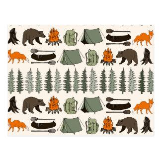 Camping Woodland Bear Fox Forest / Andrea Lauren Postcard