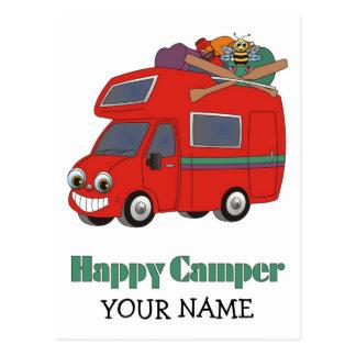 Campista contento tarjetas postales