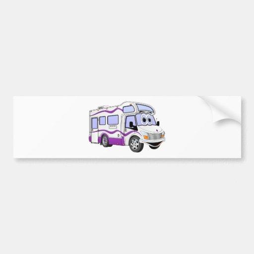 Campista de la púrpura del dibujo animado etiqueta de parachoque