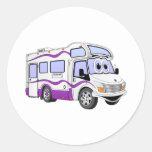 Campista de la púrpura del dibujo animado pegatinas redondas
