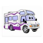 Campista de la púrpura del dibujo animado postal
