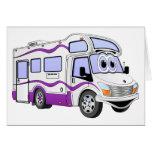 Campista de la púrpura del dibujo animado tarjeta