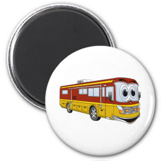 Campista del dibujo animado del autobús del oro rv imán de frigorifico