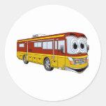 Campista del dibujo animado del autobús del oro rv pegatina redonda