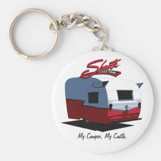 Campista del vintage de Shasta - rojo Llaveros Personalizados