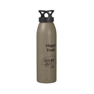 Campista feliz de los rastros botella de agua reutilizable