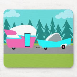 Campista/remolque y coche retros Mousepad Tapetes De Ratones