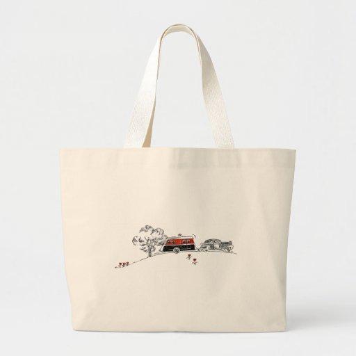 Campista y coche antiguos bolsa tela grande