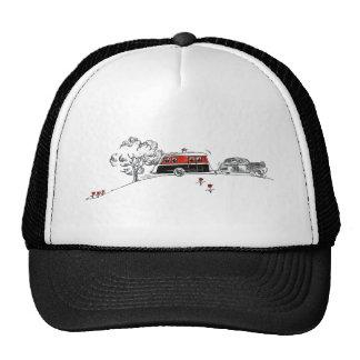 Campista y coche antiguos gorras de camionero