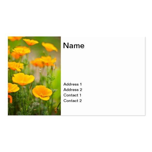 Campo anaranjado de las amapolas plantilla de tarjeta de visita