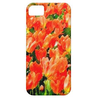Campo anaranjado de tulipanes funda para iPhone SE/5/5s
