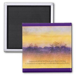 Campo anaranjado púrpura del rezo de la serenidad imán cuadrado