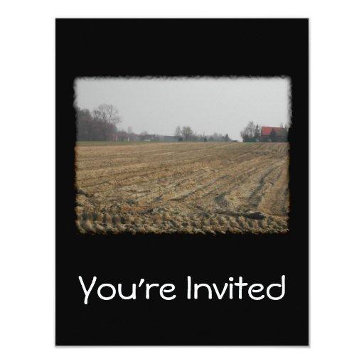 """Campo arado en invierno. Escénico Invitación 4.25"""" X 5.5"""""""