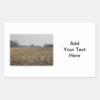 Campo arado en invierno. Escénico Pegatina Rectangular