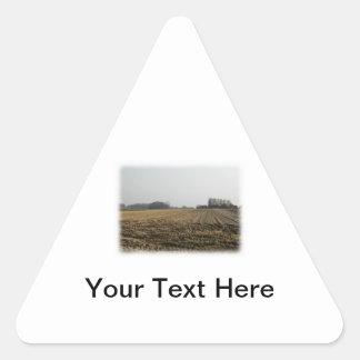 Campo arado en invierno. Escénico Pegatina Triangular