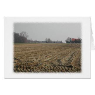 Campo arado en invierno. Escénico Tarjeta Pequeña