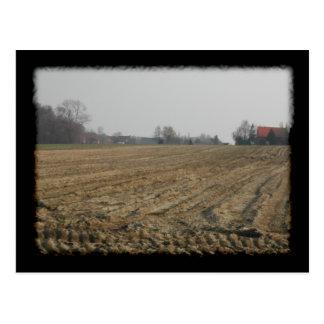 Campo arado en invierno. Escénico Tarjetas Postales
