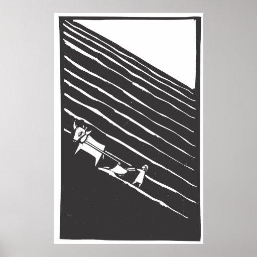 Campo arado póster