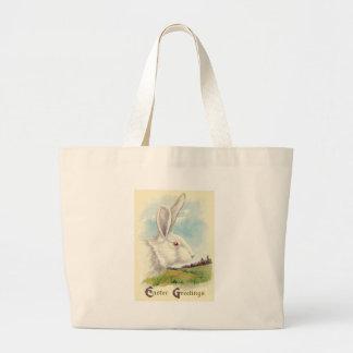 Campo blanco del albino del conejito de pascua bolsa tela grande