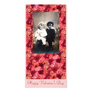 CAMPO COLOR DE ROSA, rosa rojo vibrante brillante Tarjetas Con Fotos Personalizadas
