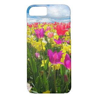 Campo colorido hermoso del tulipán funda iPhone 7