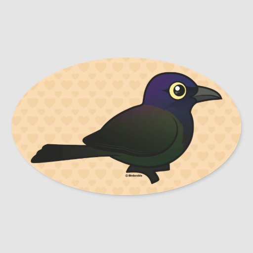 Campo común Grackle de Birdorable Pegatina Ovalada