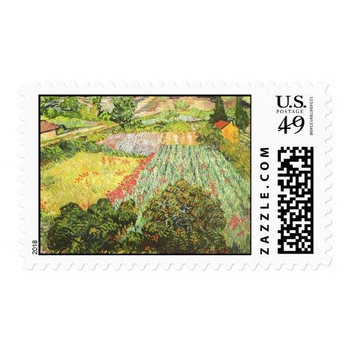 Campo con 1889) sellos de las amapolas (