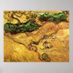 Campo con dos conejos, paisaje de Van Gogh del Poster