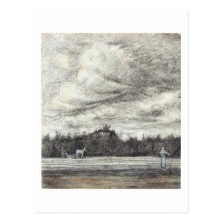 Campo con tempestad de truenos, Vincent van Gogh Tarjetas Postales