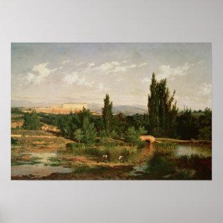 Campo con un río, Manzanares Poster