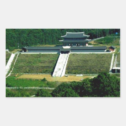 Campo coreano pegatina rectangular