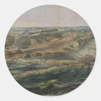 Campo de batalla de Gettysburg de Juan Bachelder Etiquetas Redondas