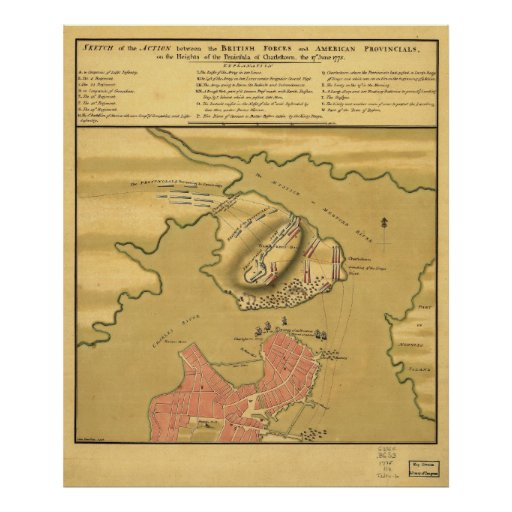 Campo de batalla de la batalla del mapa 1775 del B Póster
