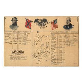 Campo de batalla de la guerra civil del mapa 1864 impresión en madera