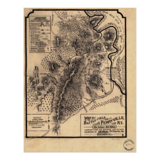 Campo de batalla de la guerra civil del mapa de Pe Poster