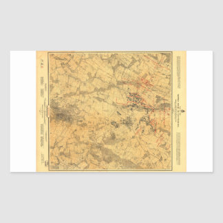 Campo de batalla del mapa de Gettysburg de Juan Pegatina Rectangular