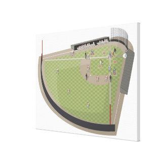 Campo de béisbol impresiones en lona estiradas