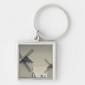 Campo de Criptana, antique La Mancha windmills 2 Silver-Colored Square Keychain