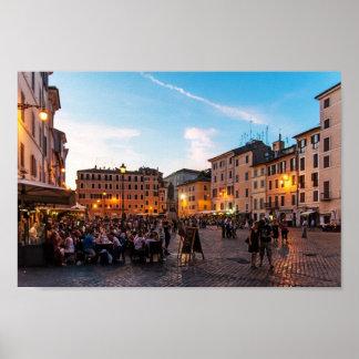Campo de Fiori en la puesta del sol, Roma, Italia, Poster