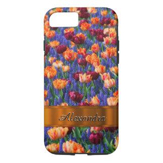 Campo de flor bonito personalizado del tulipán funda iPhone 7