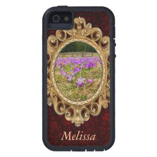 Campo de flor púrpura del azafrán, naturaleza, funda iPhone SE/5/5s