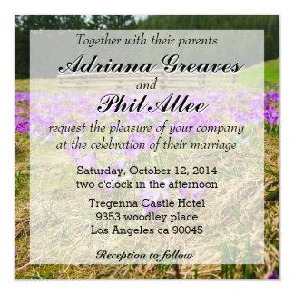 """Campo de flor púrpura del azafrán, naturaleza, invitación 5.25"""" x 5.25"""""""