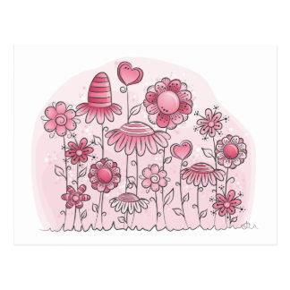 Campo de flor rosado de la fantasía postal
