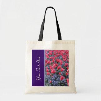 Campo de flor rosado y púrpura bolsa